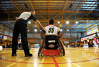 Action from the 2017 International Wheelchair Rugby Federation Asia-Oceania Zone Championships tournament match between the New Zealand Wheel Blacks and Japan at ASB Stadium in Auckland, New Zealand on Thursday, 31 August 2017. Photo: Dave Lintott / lintottphoto.co.nz