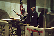 Closing of the bell inside of the New York Stock Exchange on Wall Street the day after Black Monday, when stock markets around the world crashed.