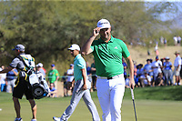 Jon Rahm (ESP) sinks his birdie putt on the 6th green during Saturday's Round 3 of the Waste Management Phoenix Open 2018 held on the TPC Scottsdale Stadium Course, Scottsdale, Arizona, USA. 3rd February 2018.<br /> Picture: Eoin Clarke | Golffile<br /> <br /> <br /> All photos usage must carry mandatory copyright credit (&copy; Golffile | Eoin Clarke)