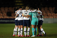 Tottenham, huddle before the second half begins during Tottenham Hotspur Women vs Everton Women, Barclays FA Women's Super League Football at the Hive Stadium on 12th February 2020