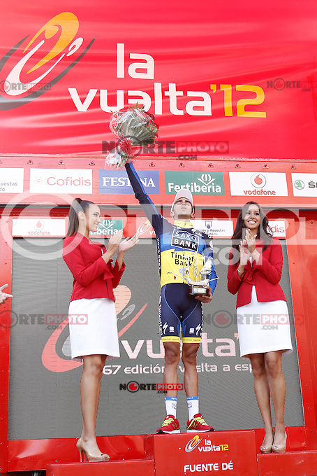 Alberto Contador celebrates the victory in the stage of La Vuelta 2012 beetwen Santander-Fuente De.September 5,2012. (ALTERPHOTOS/Acero) /NortePhoto.com<br />