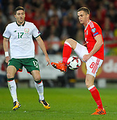 9th October 2017, Cardiff City Stadium, Cardiff, Wales; FIFA World Cup Qualification, Wales versus Republic of Ireland; Andy King of Wales controls the ball during the match
