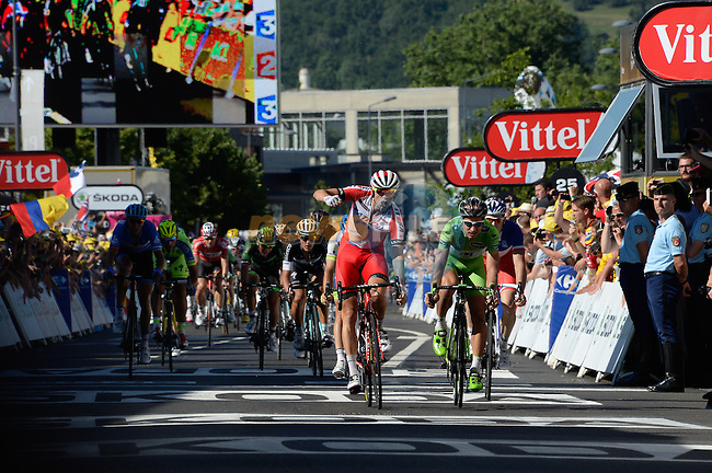 Alexander Kristoff (NOR) Katusha holds off Peter Sagan (SVK) Cannondale to win Stage 12 of the 2014 Tour de France running 185.5km from Bourg-en-Bresse to Saint Etienne. 17th July 2014.<br /> Photo ASO/B.Bade/www.newsfile.ie