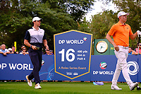 Rory McIlroy (NIR) and Matthew Fitzpatrick (ENG) on the 16th tee during the 1st round of the DP World Tour Championship, Jumeirah Golf Estates, Dubai, United Arab Emirates. 21/11/2019<br /> Picture: Golffile | Fran Caffrey<br /> <br /> <br /> All photo usage must carry mandatory copyright credit (© Golffile | Fran Caffrey)