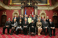 The new Liberal cabinet pose for the official photo at the Red room of the National assembly in Quebec City April 18, 2007. The cabinet is one of the smallest of the recent years and includes an equal number of men and women.<br /> <br /> PHOTO :  Francis Vachon - Agence Quebec Presse