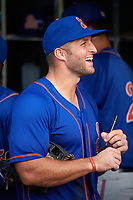 St. Lucie Mets left fielder Tim Tebow (15) signs an autograph in the dugout after a game against the Florida Fire Frogs on July 23, 2017 at Osceola County Stadium in Kissimmee, Florida.  St. Lucie defeated Florida 3-2.  (Mike Janes/Four Seam Images)