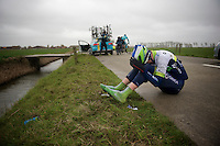 Luke Durbridge (AUS/Orica-GreenEDGE) was blown off the bike, into the ditch by the +80km/h winds that blew over the infamous Moeren. He needed some help getting out and exited the race here in the ambulance.<br /> <br /> 77th Gent-Wevelgem 2015