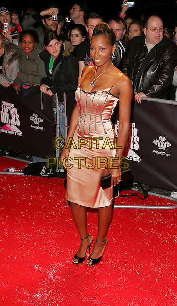 "JAMELIA.Swarowski ""Fashion Rocks"" in aid of the Princes Trust,  Royal Albert Hall, London, England,.October 18th 2007.full length peach pink Dolce & Gabbana dress satin neckace earrings jewellery.CAP/ROS.©Steve Ross/Capital Pictures"