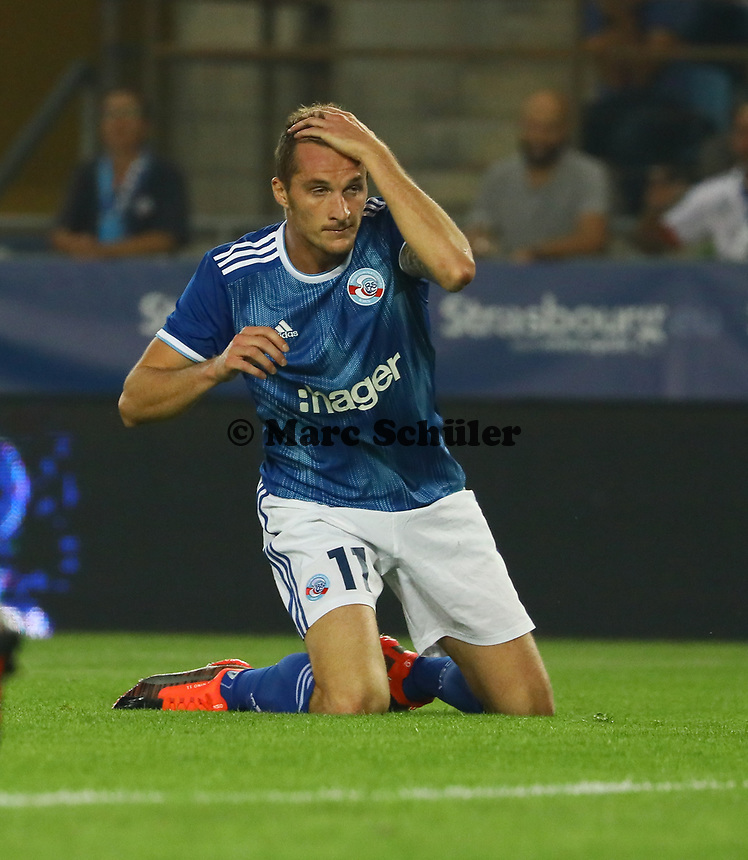 Dimitri Lienard (Racing Club de Strasbourg Alsace) aergert sich - 22.08.2019: Racing Straßburg vs. Eintracht Frankfurt, UEFA Europa League, Qualifikation, Commerzbank Arena<br /> DISCLAIMER: DFL regulations prohibit any use of photographs as image sequences and/or quasi-video.
