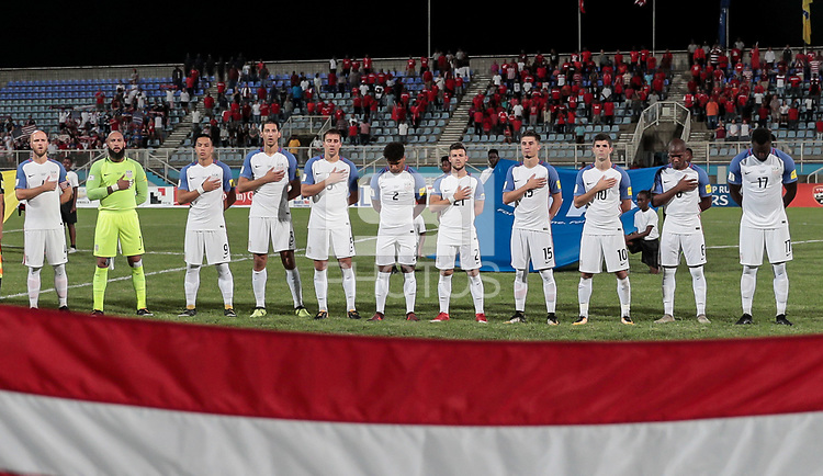 Couva, Trinidad & Tobago - Tuesday Oct. 10, 2017: U.S. Men's National team starting eleven vs Trinidad & Tobago during a 2018 FIFA World Cup Qualifier between the men's national teams of the United States (USA) and Trinidad & Tobago (TRI) at Ato Boldon Stadium.