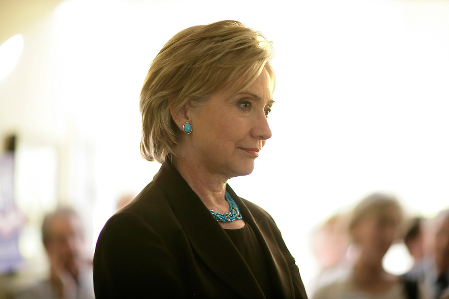 Democratic presidential candidate Hillary Clinton attends a house party in Bedford, NH.<br /> Photo by Brooks Kraft/Corbis