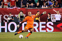United States goalkeeper Tim Howard (1). The men's national teams of the United States (USA) and Mexico (MEX) played to a 1-1 tie during an international friendly at Lincoln Financial Field in Philadelphia, PA, on August 10, 2011.