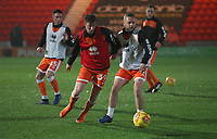 Blackpool's Joe Bunney and Blackpool's Jay Spearing<br /> <br /> Photographer Rachel Holborn/CameraSport<br /> <br /> The EFL Sky Bet League One - Doncaster Rovers v Blackpool - Tuesday 27th November 2018 - Keepmoat Stadium - Doncaster<br /> <br /> World Copyright &copy; 2018 CameraSport. All rights reserved. 43 Linden Ave. Countesthorpe. Leicester. England. LE8 5PG - Tel: +44 (0) 116 277 4147 - admin@camerasport.com - www.camerasport.com