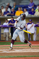 Texas A&M Aggies outfielder Nick Banks (4) swings the bat during a Southeastern Conference baseball game against the LSU Tigers on April 24, 2015 at Alex Box Stadium in Baton Rouge, Louisiana. LSU defeated Texas A&M 9-6. (Andrew Woolley/Four Seam Images)