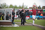 Home manager Rob Smith gesticulates during the first-half at Key's Park during the Hednesford Town (in white) versus FC United of Manchester Northern Premier League premier division play-off final. The match would decide which club were promoted to the Blue Square Conference North. Hednesford won the game by 2 goals to 1 in front of a stadium record attendance of 4412 spectators.