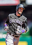 28 August 2016: Colorado Rockies outfielder and Baseball America top prospect David Dahl rounds the bases after hitting a solo home run in the 3rd inning against the Washington Nationals at Nationals Park in Washington, DC. The Rockies defeated the Nationals 5-3 to take the rubber match of their 3-game series. Mandatory Credit: Ed Wolfstein Photo *** RAW (NEF) Image File Available ***
