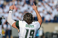 October 22, 2016 - Colorado Springs, Colorado, U.S. -   Hawaii quarterback, Dru Brown #19, celebrates the Rainbow Warrior's double overtime victory following the NCAA Football game between the University of Hawaii Rainbow Warriors and the Air Force Academy Falcons, Falcon Stadium, U.S. Air Force Academy, Colorado Springs, Colorado.  Hawaii defeats Air Force in double overtime 43-27.