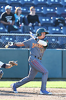 Bryant Flete #28 of the Boise Hawks bats against the Everett AquaSox at Everett Memorial Stadium on July 25, 2014 in Everett, Washington. Everett defeated Boise, 3-1. (Larry Goren/Four Seam Images)