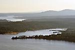 Aerial view of passenger ferry boat at Bainbridge Island Puget Sound Washington State USA