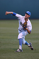 Griffin Canning (55) of the UCLA Bruins throws before a game against the Vanderbilt Commodores at Jackie Robinson Stadium on March 06, 2015 in Los Angeles, California. Vanderbilt defeated UCLA, 6-0. (Larry Goren/Four Seam Images)