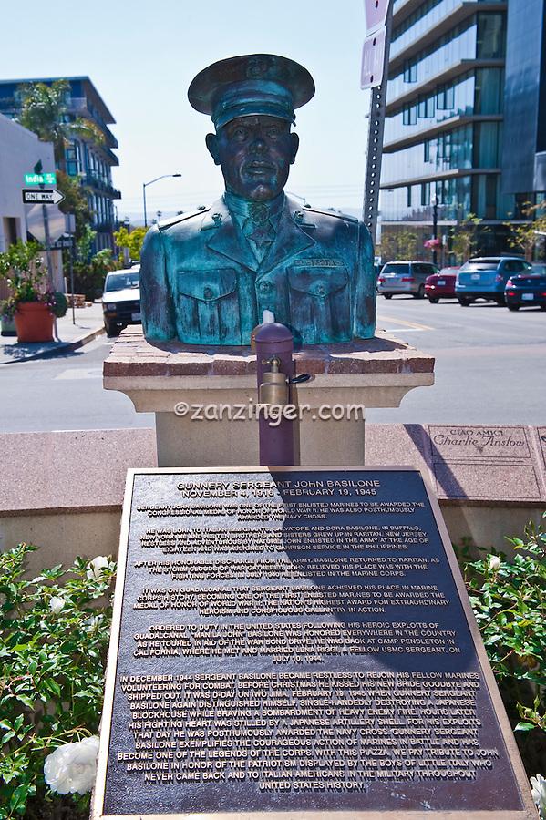 Gunnery Sergeant John Basilone, Bronze, Bust, Little Italy, urban, neighborhood, San Diego,