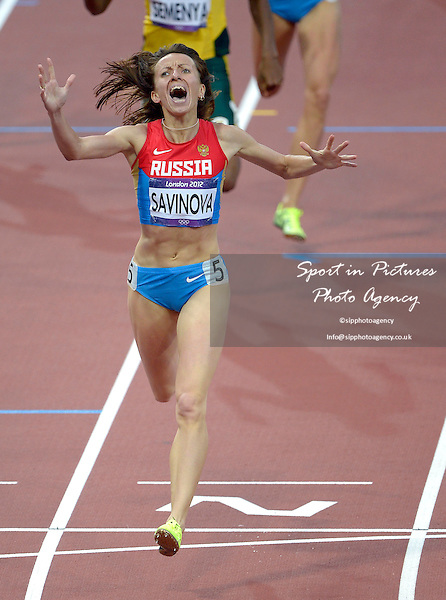 Russia's Mariya Savinova Celebrates. Athletics - PHOTO: Mandatory by-line: Garry Bowden/SIP/Pinnacle - Photo Agency UK Tel: +44(0)1363 881025 - Mobile:0797 1270 681 - VAT Reg No: 768 6958 48 - 11/08/2012 - 2012 Olympics - Olympic Stadium, Olympic Park, London, England
