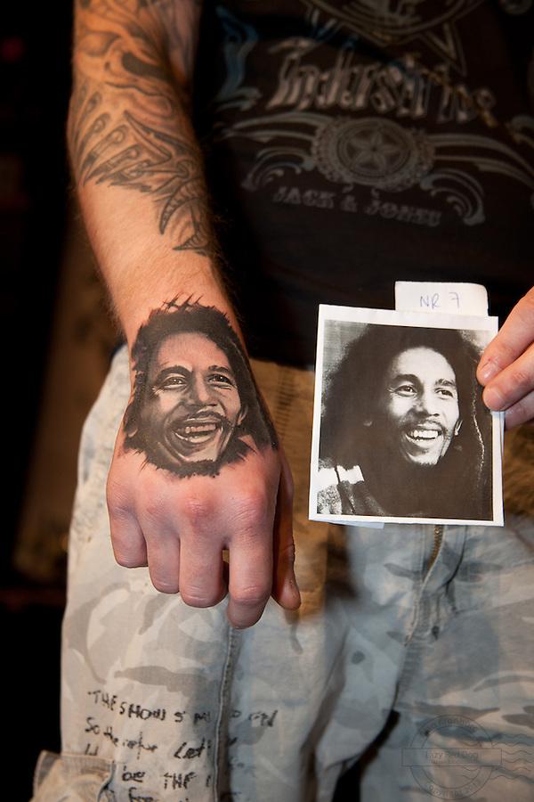 Copenhagen Inkfestival 2012. Black and grey Bob Marley portrait tattoo