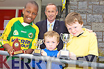 AWARDS: Three pupils of St John's Parochial School in Tralee won awards this week, l-r: Osazode Odiahi who won a drumming trophy from the Redeemed Church of God, Nathan Rogers, Most Improved U-5 player of the Year with John Mitchels GAA Club, and Jack Rogers, Most Improved U-10 player of the Year with John Mitchels GAA Club. They are pictured with school principal, Michael Lynch.
