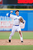 Dunedin Blue Jays shortstop Logan Warmoth (2) throws to first base during a game against the Clearwater Threshers on April 8, 2018 at Dunedin Stadium in Dunedin, Florida.  Dunedin defeated Clearwater 4-3.  (Mike Janes/Four Seam Images)