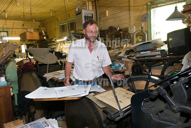 Dean Coombs, third generation newspaperman and printer at the Saguache Crescent Newspaper. Combs also does some commerical letterpress work in addition to the weekly boardsheet newspaper at the Crescent,  last of the hot metal newspapers in the U.S.