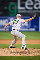 Lynchburg Hillcats relief pitcher Billy Strode (44) delivers a pitch during the second game of a doubleheader against the Frederick Keys on June 12, 2018 at Nymeo Field at Harry Grove Stadium in Frederick, Maryland.  Frederick defeated Lynchburg 8-1.  (Mike Janes/Four Seam Images)