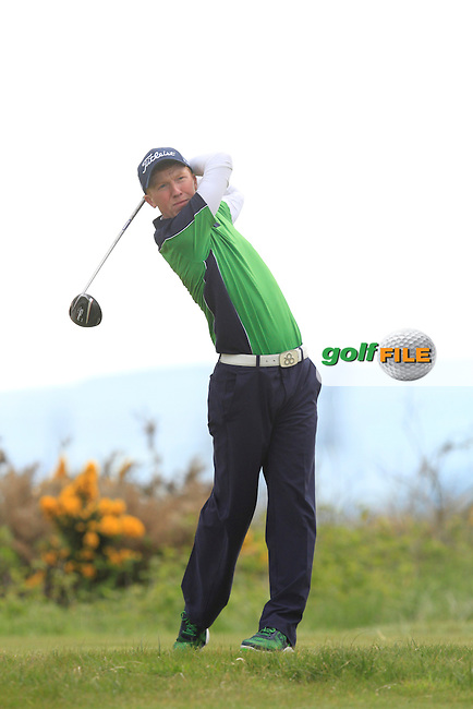 Gavin Moynihan on the 15th tee during Round 3 of the Irish Amateur Open Championship at Royal Dublin on Saturday 9th May 2015.<br /> Picture:  Thos Caffrey / www.golffile.ie