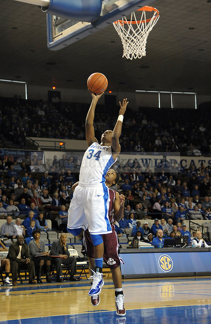 UK's Victoria Dunlap lays up the ball during the first half of the University of Kentucky Women's basketball game against Alabama A&M at Memorial Coliseum in Lexington, Ky., on 12/18/10. Uk led at half 42-20. Photo by Mike Weaver | Staff