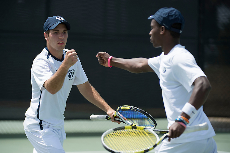 April 27, 2013; San Diego, CA, USA; BYU Cougars players John Pearce (left) and Keaton Cullimore (right) during the WCC Tennis Championships at Barnes Tennis Center.