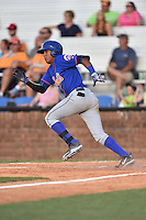 Kingsport Mets shortstop Milton Ramos (2) runs to first during a game against the  Johnson City Cardinals on June 25, 2015 in Johnson City, Tennessee. The Mets defeated the Cardinals 10-8 (Tony Farlow/Four Seam Images)