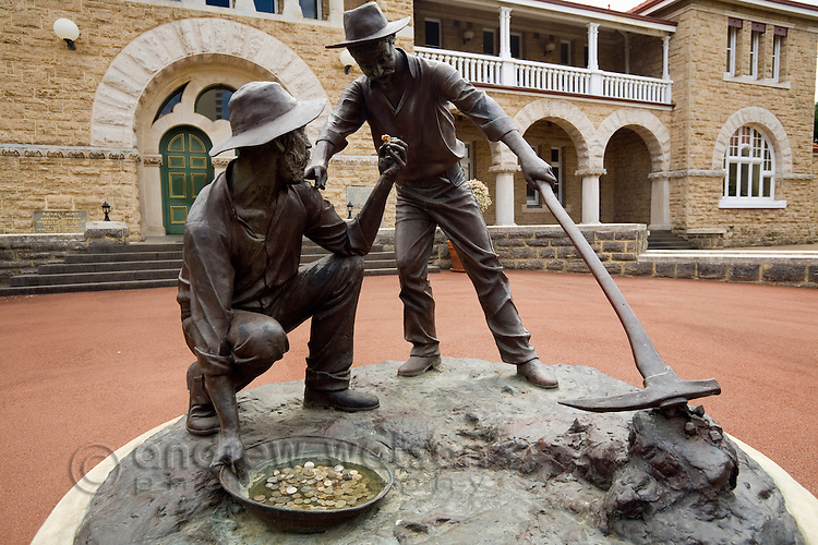 Miners sculpture in front of the historic Perth Mint, dating back to 1899.  Perth, Western Australia, AUSTRALIA.