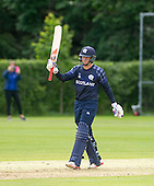 ICC World T20 Qualifier (Warm up match) - Scotland V Jersey at Heriots CC, Edinburgh - Munsey 50 signalled — credit @ICC/Donald MacLeod - 06.7.15 - 07702 319 738 -clanmacleod@btinternet.com - www.donald-macleod.com