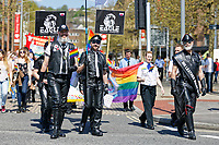 Pictured: Members of Eagle Cardiff take part in Pride parade as it travels through the streets of Swansea, Wales, UK. Saturday 05 May 2018<br /> Re: Spring Pride has brought a celebration of colour to the streets of Swansea in Wales, UK.<br /> Rainbow flags were flown in support of the LGBT community at the event, which is designed to raise awareness and is open to anyone to take part in.