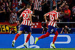 Hector Herrera (R) and Victor Machin 'Vitolo' (L) of Atletico de Madrid celebrate goal during UEFA Champions League match between Atletico de Madrid and Juventus at Wanda Metropolitano Stadium in Madrid, Spain. September 18, 2019. (ALTERPHOTOS/A. Perez Meca)