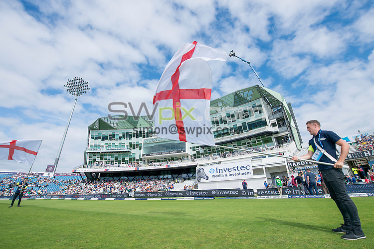 Picture by Allan McKenzie/SWpix.com - 27/08/2017 - Cricket - Investec Test - England v West Indies - Headingley Cricket Ground, Leeds, England - Flag bearers prepare to greet the teams onto the field at Headingley.