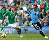 June 4th 2017, Aviva Stadium, Dublin, Ireland; International football friendly, Republic of Ireland versus Uruguay; Jeff Hendrick ire gets away from Maximiliano Pereira (Uruguay)
