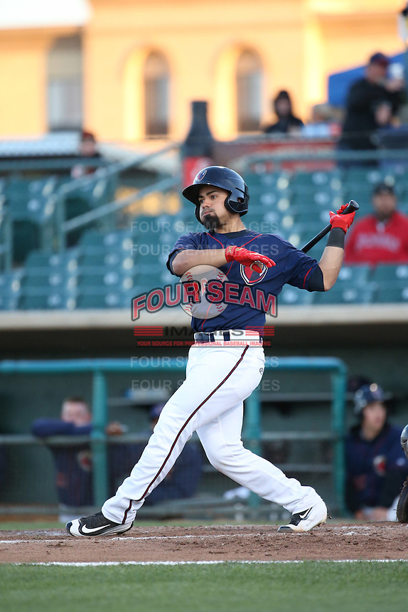 Richard Gonzalez (16) of the Lancaster JetHawks bats against the Bakersfield Blaze at The Hanger on April 28, 2016 in Lancaster, California. Lancaster defeated Bakersfield, 5-4. (Larry Goren/Four Seam Images)