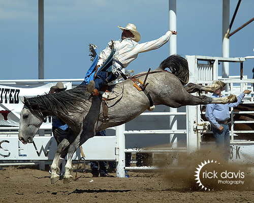 Jeremiah Renyolds competes on a Southwick Rodeo Comapny Bareback Bronc during action at the Keenesburg, Colorado CPRA Rodeo on August 12, 2006.