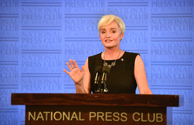 """Science Meets Parliament"" conference with President Professor Emma Johnston speaking at a National Press Club event, Canberra on 14th February, 2018. PHOTO: MARK GRAHAM"