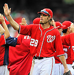 24 September 2011: Washington Nationals outfielder Jayson Werth celebrates after game action against the Atlanta Braves at Nationals Park in Washington, DC. The Nationals defeated the Braves 4-1 to even up their 3-game series. Mandatory Credit: Ed Wolfstein Photo