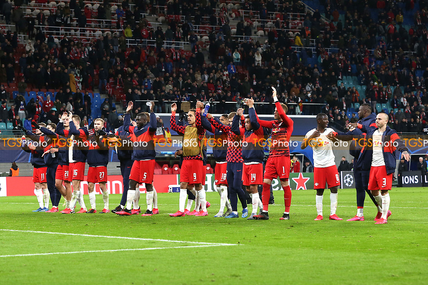 RB Leipzig players celebrate the victory after RB Leipzig vs Tottenham Hotspur, UEFA Champions League Football at the Red Bull Arena on 10th March 2020