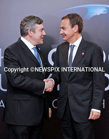 """JOSE LUIS ZAPATERO AND GORDON BROWN.G20 SUMMIT, Excel Centre, London_02/04/2009.Photo: Newspix International..**ALL FEES PAYABLE TO: """"NEWSPIX INTERNATIONAL""""**..PHOTO CREDIT MANDATORY!!: NEWSPIX INTERNATIONAL(Failure to credit will incur a surcharge of 100% of reproduction fees)..IMMEDIATE CONFIRMATION OF USAGE REQUIRED:.Newspix International, 31 Chinnery Hill, Bishop's Stortford, ENGLAND CM23 3PS.Tel:+441279 324672  ; Fax: +441279656877.Mobile:  0777568 1153.e-mail: info@newspixinternational.co.uk"""