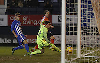 Danny Hylton watches on as his shot roles into the back of the net during the Sky Bet League 2 match between Luton Town and Hartlepool United at Kenilworth Road, Luton, England on 14 March 2017. Photo by Liam Smith.