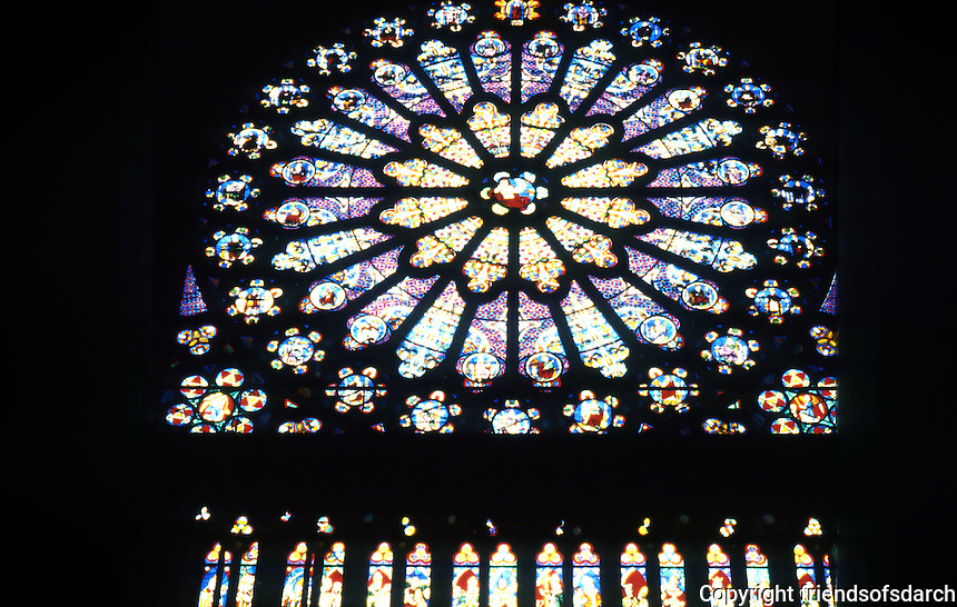 Paris: Abbey of Saint-Denis, rose window, North Transept. Photo '90.