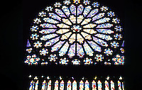 Paris: Abbey of Saint-Denis, rose window, North Transept. Photo '90.